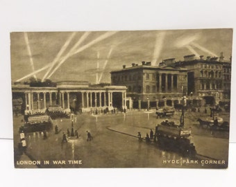 Vintage Post Card Photograph of London in War Time Hyde Park Corner