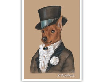 Miniature Pinscher Art Print - The Groom - Retro Dog Wall Art - Pets in Costumes - Whimsical Dog Portraits by Maria Pishvanova