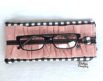 Black & White Gingham - Ballet Pink soft sunglasses case, glasses pouch, ruffled glasses case, ladies ruffled sunnies, padded glasses case