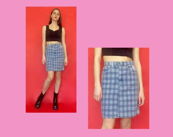 Vintage 90s High Waisted Plaid Denim Pencil Skirt