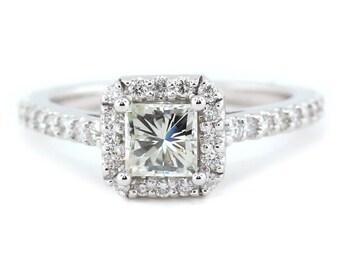 Princess Cut Moissanite Engagement Ring Diamond Halo  - Patti
