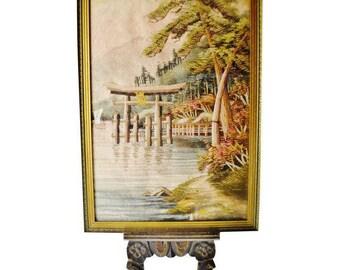 Vintage Framed Japanese Needlepoint Pagoda Scene