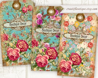 Flower Tags. Set of 3. Vintage flower tags. Download digital collage sheet for scrapbooking or packaging.
