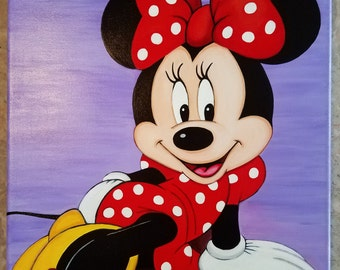 Minnie Mouse Acrylic Painting stretched canvas  Art Decor