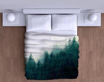Misty Forest Mountain Duvet Cover  - Soft Bedding Comforter Duvet