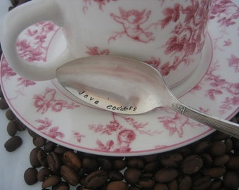 Java Goddess -  Upcycled Silverplate Hand Stamped Teaspoon