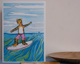Surfing Tiger , Hand Illustrated, Greetings Card, surfing card, surfing greetings card, tiger card, illustrated tiger card