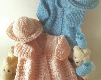PDF Instant Digital Download baby hat matinee coats shoes knitting pattern 14 to 18 inch (628)