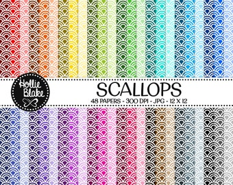 50% off SALE!! 48 Scallops Digital Paper • Rainbow Digital Paper • Commercial Use • Instant Download • #SCALLOPS-103-2
