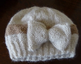 Hand-knitted girls hat