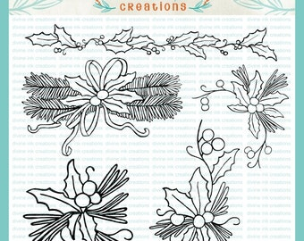 Christmas Holly Hand Drawn Collection Digital Stamps Illustration