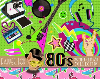 80's I Wanna Rock Clipart Collection | PNG Retro Music Clip Art Elements Totally 80s / 90s