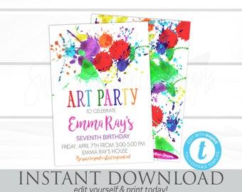 Art Party Birthday Invitation, Art Party invitation, Paint Seventh Birthday Invitation  Editable Birthday Invitation, Instant Download