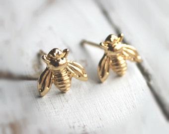 Sale. SALE.  14K Gold or Silver Plated Bee Earrings. Post Stud Earrings.