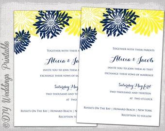 Wedding invitation template yellow gray diy summer wedding wedding invitation template yellow navy blue diy summer wedding invitations flower burst gerber stopboris Image collections