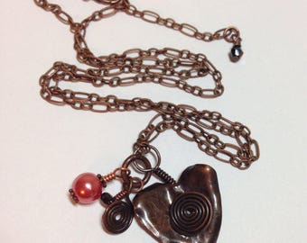 "Copper Heart Charm Necklace with Pearls and Garnet Charms 1.5"" Long on Adjustable Antique Copper 22"" Chain Previously 38 Dollars ON SALE"