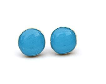Blue Lagoon post earrings blue lagoon studs wood earrings starlight woods eco friendly earrings