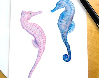 Seahorse Stationery, Seahorse Gifts, Seahorse Note Cards, Seahorse Thank You Cards with Seahorses, Seahorse Stationary Set Stationary Cards