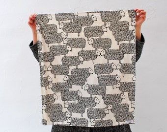 Baby BLANKET in Organic Cotton- Modern Baby Blanket in Black and White Sheep - Baby Shower Gift- Farm Animals Decor