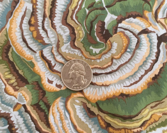 TREE FUNGI Grey Orange Blue Green Natural Quilt Fabric - by the Yard, Half Yard, or Fat Quarter Fq by Phillip Jacobs for Kaffe Fassett