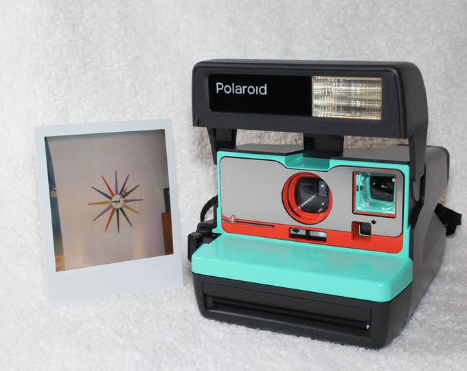 Retro Green, Orange and Brushed Silver Front Polaroid 600 OneStep With Close Up And Flash Built-In