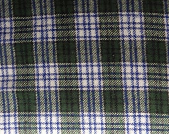 "Blue, Green & White Plaid Flannel, Yarn-Dyed Flannel, Blue Cotton Flannel Fabric, 56"" Wide, BTY or Half Yard"