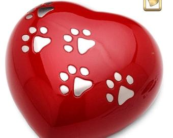 Red Heart Dog Urn (Large)