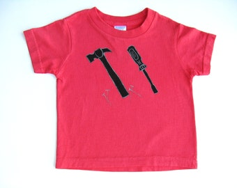 Tools T Shirt, Daddy's Little Helper Tee or Top, Tools Theme Birthday, Hand Painted for Baby and Toddler, Hammer and Screwdriver
