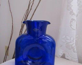 Cobalt Blue Glass Vase Pitcher Handcraft Hand Blown Blenko