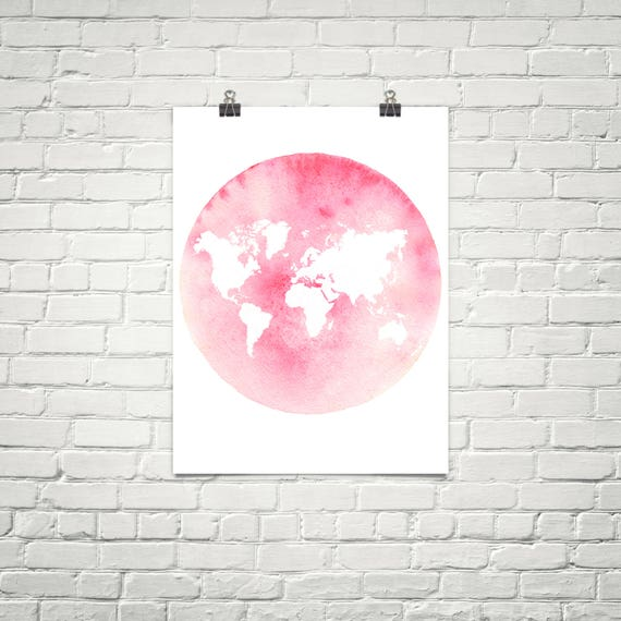 Pink World Map Wall Art Pink World Map Poster Map Art Map - Pink world map poster