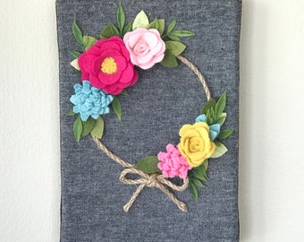 Felt Flower Wreath, Fall Wreath, Fall decor, wall hanging, felt flowers, hostess gift, bedroom decor, holiday decor