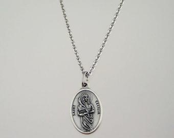 Saint Cecilia Medal Necklace