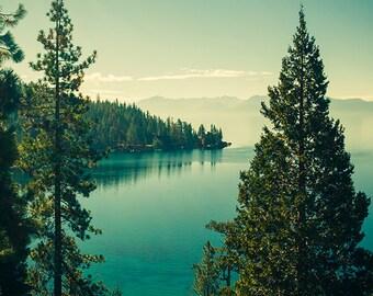 Lake Tahoe Photography - California Landscape Photo - Mountains, Trees, Lake, Beautiful Travel Photos, Nature, Green and Blue, Nevada