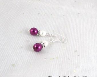 Earrings purple white rhinestone - Romantica Collection - lily wedding ceremony jewelry wedding earrings Bridal, bridesmaid wedding