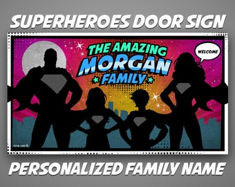 Superheroes Front Door Sign,Family Name Sign,Personalized sign,Welcome Sign,door sign,family sign,superman,comics,gift ideas,christmas gift,