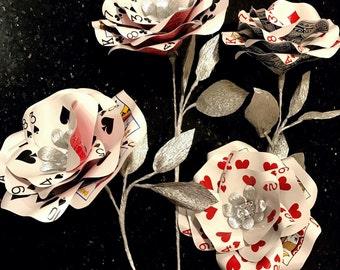 Silver Playing Card Flower | Casino Party | Vegas Wedding | Poker | Rhinestone Bling | Bridal Flowers| Paper Flower| Alice in Wonderland