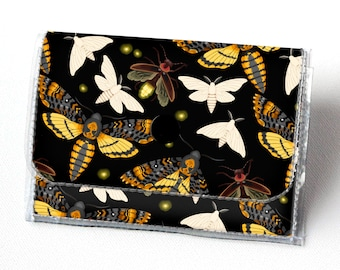 Vinyl Accordion Wallet - Moths and Fireflies / butterfly, small wallet, snap, cute, card case, vinyl wallet, women's wallet, insect