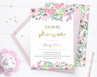 Spring bridal shower invitations Printable. Floral Hens invitations, Watercolour Bachelorette party invitations Gold foil Kitchen tea brunch