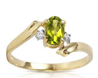 14K. SOLID gold ring with NATURAL DIAMONDS & peridot white gold yellow gold rose gold