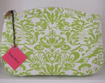 monogrammed lime damask cosmetic bag