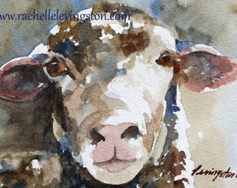 girl nursery wall art Painting of sheep painting watercolor painting cottage chic Wall hanging 5x7 Sheep PRINT sheep blue gray baby Boy Kid
