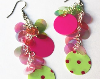 Sequin Earrings Pink & Green Polka dot Iridescent Round Dangles Long Earrings Plastic Sequin Jewelry