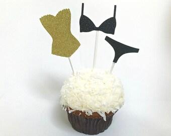 Lingerie cupcake, lingerie picks, lingerie cake picks, lingerie cake topper, lingerie party, lingerie shower, bachelorette cake