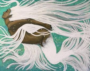 Mermaid Of Light Original Painting By Artist Rafi Perez Mixed Medium on Canvas 48X38