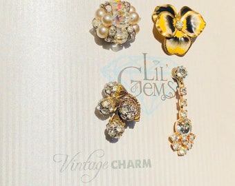 Vintage Magnetic Wine Charms: Pansy Set of 4