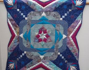 Handmade Patchwork Art Quilt, Mixed Media Quilt Blue Maze Silver Star Burst, Machine Quilted with lots of stars and  unusual shape- 38""