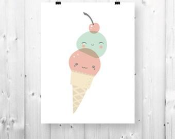 Smiling ice cream print - 8 1/2'' x 11 '' - PDF Download