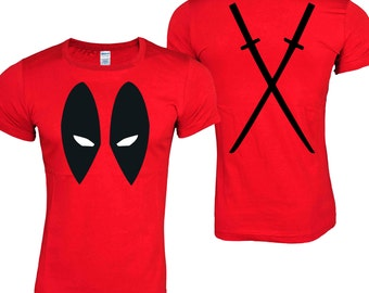 DEADPOOL Antihero Eyes Front & Back Katanas Red T-Shirt ADULT SIZES