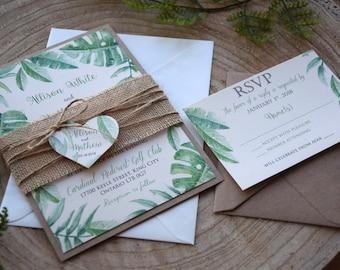 Rustic Nature Green Wedding Invitation Green Leaf Wedding
