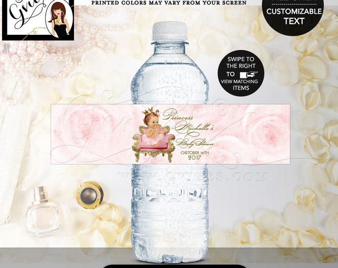 """Princess water bottle labels baby shower, pink and gold water label, vintage baby shower favors, gifts, DIGITAL ONLY! 8x2"""" 5 Per/Sheet"""